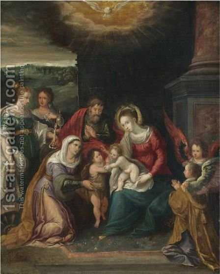 The Holy Family With The Infant Saint John The Baptist And Saints Elizabeth, Catherine Of Alexandria And Mary Magadelene by (after) Frans II Francken - Reproduction Oil Painting