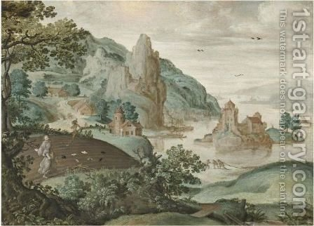 A Mountainous River Landscape With The Parable Of The Sewing Of The Tares by (after) Cornelis Massys - Reproduction Oil Painting