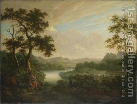 A Classical Landscape With A General Being Tended By Soldiers by (after) Claude Lorrain (Claude Gellee) - Reproduction Oil Painting