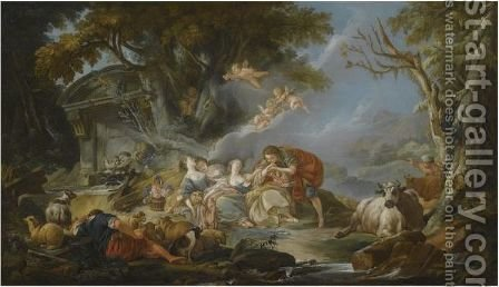 A Pastoral Landscape With A Young Man Giving A Love Letter To A Sleeping Shepherdess by (after) Francois Boucher - Reproduction Oil Painting