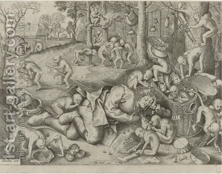 The Sleeping Peddler, Surrounded By Monkeys, Who Are Playing With His Goods by (after) Pieter The Elder Brueghel - Reproduction Oil Painting