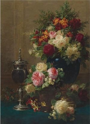 Still Life Of Flowers With A Coconut Chalice On A Table