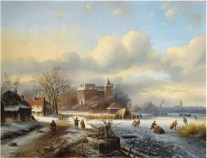A Winter Landscape With Skaters On The Ice, A Town In The Distance