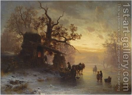 Figures At A Smithy In Winter by Heinrich Hofer - Reproduction Oil Painting