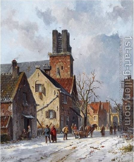 Figures In The Snow Covered Streets Of Ransdorp by Adrianus Eversen - Reproduction Oil Painting
