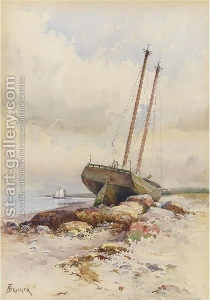 Schooner High And Dry by Alfred Thompson Bricher - Reproduction Oil Painting