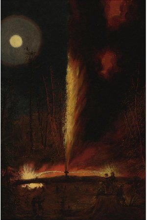 Famous paintings of Fireworks: First Oil Well Burning