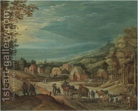 Travellers And Herdsmen Descending A Hill Towards A Town by (after) Joos De Momper - Reproduction Oil Painting