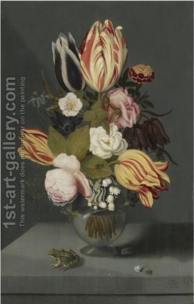 Still Life With Variegated Tulips, Pink And White Roses by Ambrosius The Younger Bosschaert - Reproduction Oil Painting