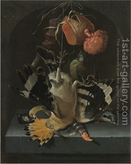Still Life With A Hoopoe, A Great Tit, A Falconry Hood And A Decoy Whistle All Arranged Within A Stone Niche by Abraham Mignon - Reproduction Oil Painting