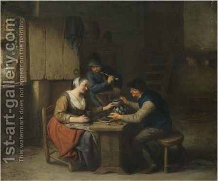 A Tavern Interior With Two Boors Seated At A Table Drinking, A Third Standing Behind Smoking A Pipe by Adriaen Jansz. Van Ostade - Reproduction Oil Painting