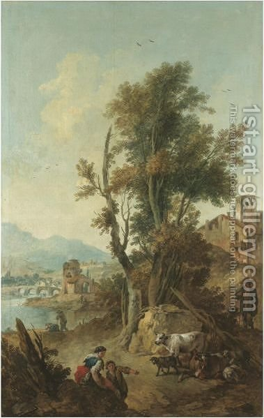 An Italianate River Landscape With Figures Resting In The Foreground by Giuseppe Zais - Reproduction Oil Painting