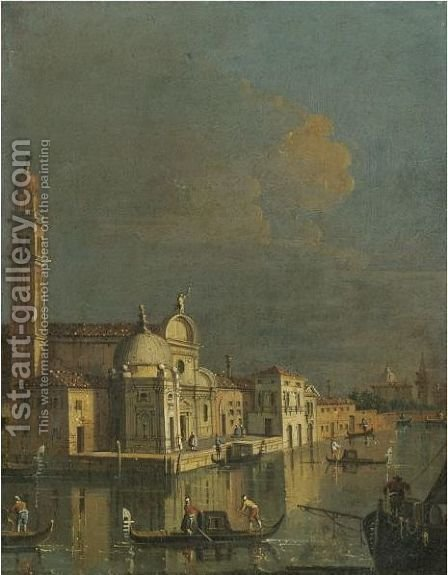Venice, A Capriccio View Of San Giorgio Maggiore by (after) Bernardo Bellotto (Canaletto) - Reproduction Oil Painting