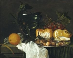 Reproduction oil paintings - Jan Davidsz. De Heem - Still Life With A Roemer, A Peeled Lemon, Bread, An Oyster And Chestnuts On A Pewter Dish