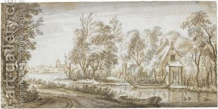 River Landscape With A Cottage Amongst Trees by (after) Adriaen Hendriksz. Verboom - Reproduction Oil Painting