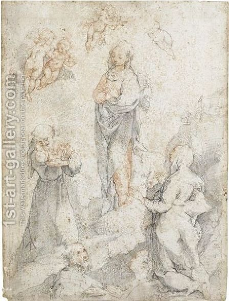 The Virgin With St Francis Holding The Christ Child, St Clare And Two Donors by (after) Federico Fiori Barocci - Reproduction Oil Painting