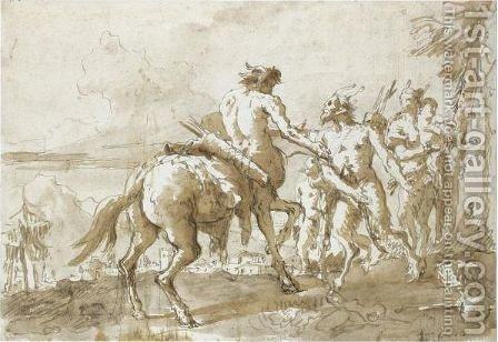 A Centaur Meeting A Faun And His Family by Giovanni Domenico Tiepolo - Reproduction Oil Painting