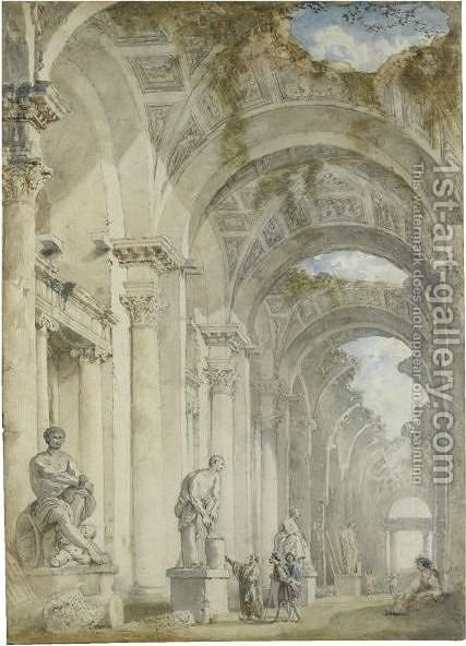 A Sculpture Gallery In A Ruined Arcade by (after) Giovanni Paolo Panini - Reproduction Oil Painting