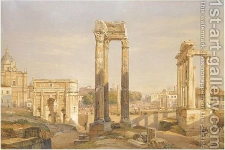 A View Of The Roman Forum, With Oxen And Carts In The Middle Ground by Hermann David Salomon Corrodi - Reproduction Oil Painting