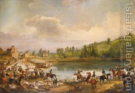 Deer hunting on saint Hubert's day inn 1818 by (after) Antoine-Eugene Ronjat - Reproduction Oil Painting