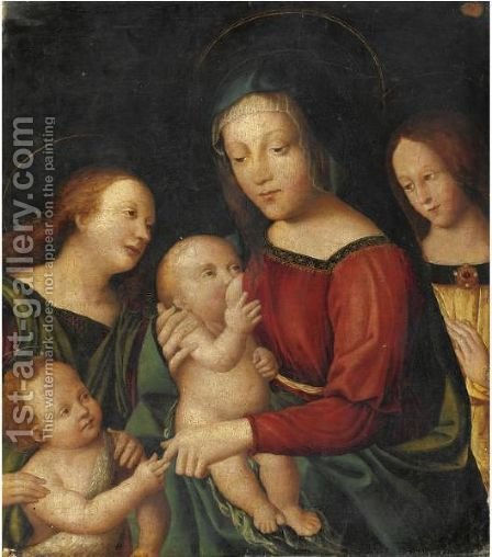 Madonna Con Bambino, San Giovannino E Angeli by Italian Unknown Master - Reproduction Oil Painting