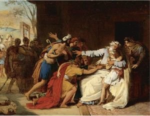 Theophile Auguste Vauchelet reproductions - Jacob Refusing To Send Benjamin Away