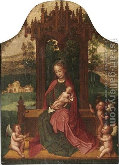 Virgin And Child Enthroned by (after) Adriaen Isenbrant - Reproduction Oil Painting