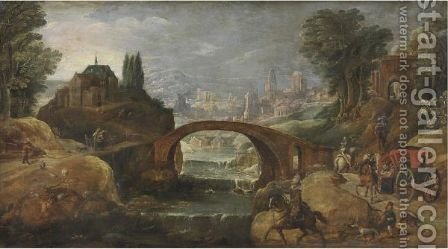 View Of The Outsksirts Of A Town With Elegant Travellers Along The Banks Of A River by (after) Pieter Meulener - Reproduction Oil Painting