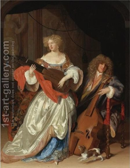 A Lady Playing The Lute And A Gentleman With A Viola Da Gamba by Adriaen Van Der Werff - Reproduction Oil Painting