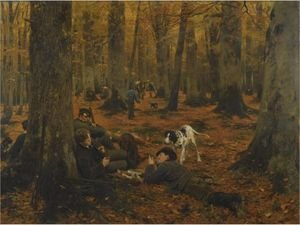Reproduction oil paintings - Wilhelm Simmler - Rast Auf Der Jagd (Hunters At Rest)