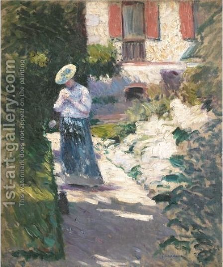 Study For 'Les Dahlias, Jardin Du Petit Gennevilliers' by Gustave Caillebotte - Reproduction Oil Painting
