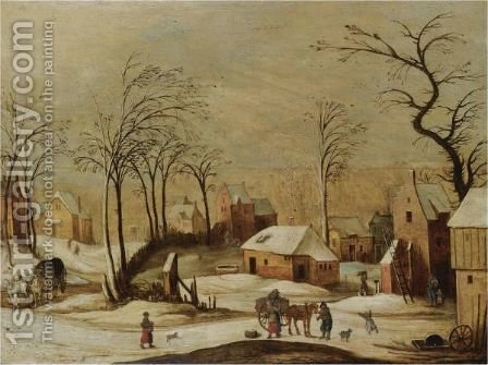 A Village Scene In Winter With Peasants Unloading A Cart In The Foreground, And A Horse And Carriage On A Path To The Left by (after) Joos De Momper - Reproduction Oil Painting