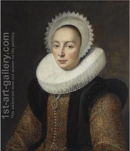 Portrait Of Magdalena Van Beresteyn (1585-1615), Half Length, Wearing A Gold Embroidered Dress With Vlieger And A Molensteenkraag, And A White Lace Bonnet by (after) Michiel Jansz. Van Mierevelt - Reproduction Oil Painting