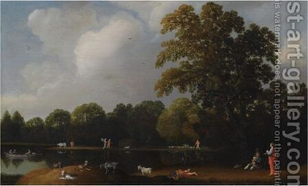 A Wooded Landscape With Shepherds And Their Flock, A Musician And A Figure In Roman Costume Near A Pond by Haarlem School - Reproduction Oil Painting