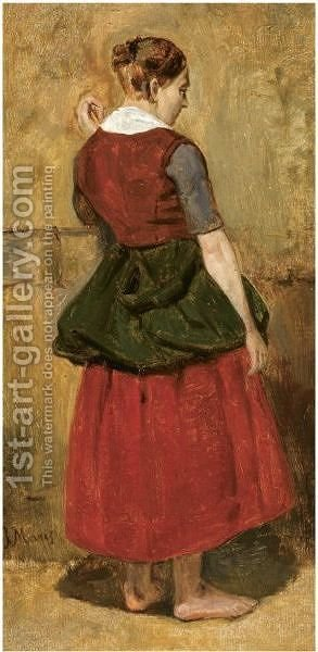 A Girl Standing by Jacob Henricus Maris - Reproduction Oil Painting