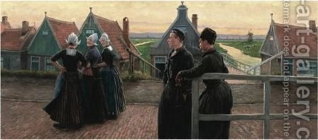 The Fishermen's Flirt, Volendam by Henri Houben - Reproduction Oil Painting