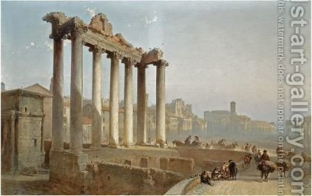 Figures Near The Temple Of Saturn On The Forum Romanum, Rome by Alfred Eduard Agenor De Bylandt - Reproduction Oil Painting