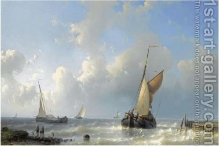 Fishing Boats In Choppy Waters 2 by Abraham Hulk Jun. - Reproduction Oil Painting