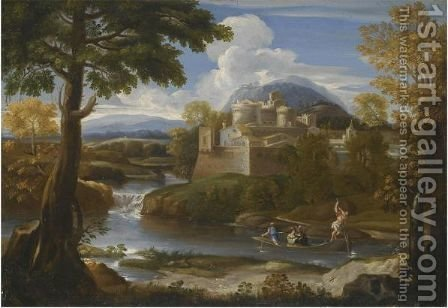 A River Landscape With An Elegant Couple Boating In The Foreground by Giovanni Francesco Grimaldi - Reproduction Oil Painting