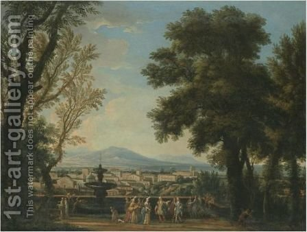 An Extensive Italianate Landscape With Elegant Figures On A Terrace Overlooking A Town by Isaac de Moucheron - Reproduction Oil Painting