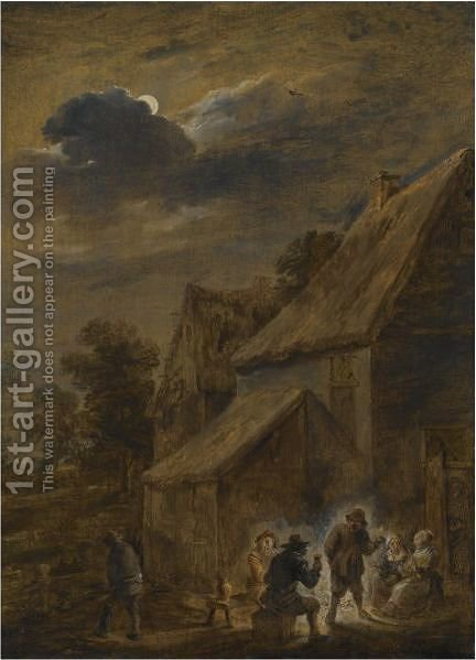 A Nightscene With Peasants Making Merry Outside An Inn by (after)  David The Younger Teniers - Reproduction Oil Painting