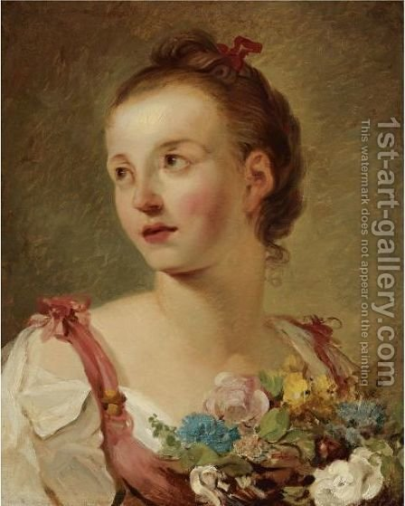 A Young Girl With Flowers by Hugues Taraval - Reproduction Oil Painting