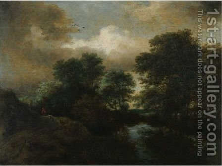 A Wooded Landscape With A Pool And A Peasant With His Dogs On A Rise by (after) Jacob Van Ruisdael - Reproduction Oil Painting