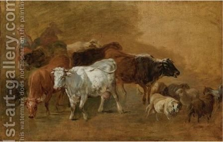 Cattle And Sheep Driven By Peasants 2 by (after) Jean-Baptiste Huet I - Reproduction Oil Painting