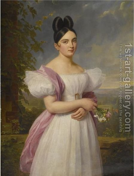 Portrait Of A Young Woman In A Landscape by (after) Ferdinand Georg Waldmuller - Reproduction Oil Painting