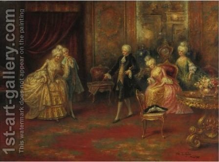The Dance Lesson by A. Zoffoli - Reproduction Oil Painting