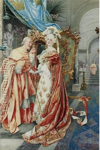 The Cardinal And The Lady by Guiseppe Signorini - Reproduction Oil Painting