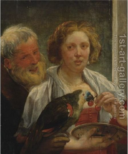 A Bearded Man And A Woman With A Parrot Unrequited Love by Jacob Jordaens - Reproduction Oil Painting
