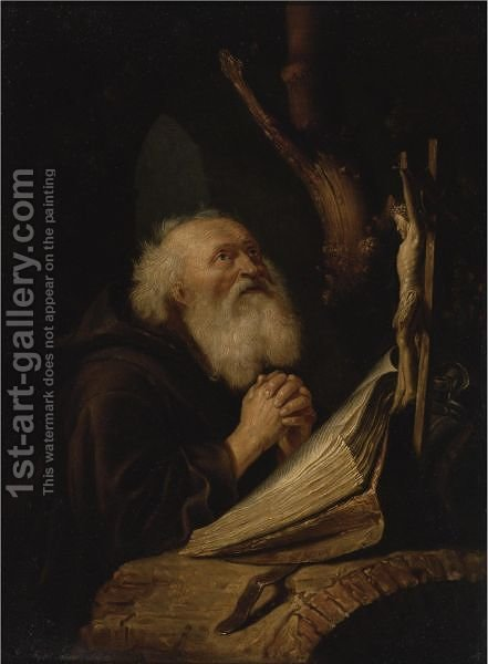 Hermit At Prayer by (after) Gerrit Dou - Reproduction Oil Painting