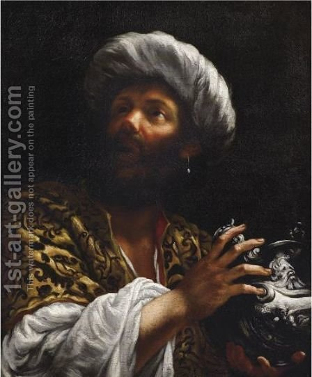 Head Of A Bearded Man, Probably One Of The Magi by Giovanni Battista (Baciccio) Gaulli - Reproduction Oil Painting